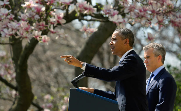 President Barack Obama, accompanied by acting Budget Director Jeffrey Zients, speaks in the Rose Garden of the White House in Washington, Wednesday, April 10, 2013, to discuss his proposed fiscal year 2014 federal budget.