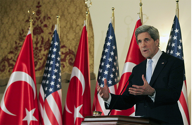 U.S. Secretary of State John Kerry speaks at a news conference in Ankara, Turkey. Ankara is the fifth leg of Kerry's first official overseas trip to Europe and the Middle East. Most Americans cannot pass a basic global geography test or international current events test.