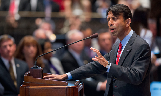 Gov. Bobby Jindal delivers a speech to the lawmakers in Baton Rouge, Louisiana, Monday, April 8, 2013, announcing that he has shelved his plan to eliminate income taxes and raise sales tax.