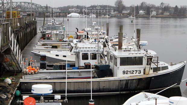 Fishing boats are seen at the commercial fishing pier, Wednesday, February 1, 2012, in Portsmouth, New Hampshire.