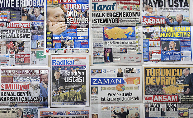 A montage of nine Turkish newspaper front pages are seen in Istanbul, Monday, June 13, 2011.