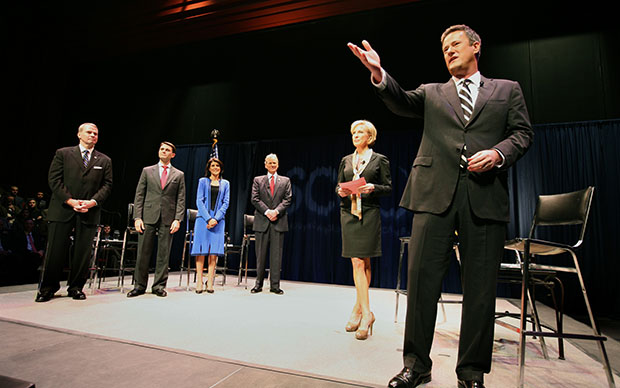 "Debate moderators Joe Scarborough, right, and Mika Brzezinski, second from right, co-hosts of MSNBC's ""Morning Joe,"" talk to the audience before the start of the South Carolina GOP governor debate at Memminger Auditorium in Charleston, South Carolina, Thursday, January 28, 2010."