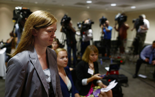 Abigail Fisher, who sued the University of Texas when she was not offered a spot at the university's flagship Austin campus in 2008, arrives for a news conference at the American Enterprise Institute in Washington, Monday, June 24, 2013.