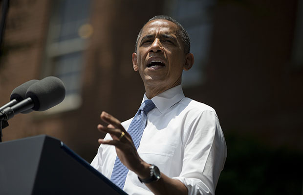 President Barack Obama gestures during a speech on climate change, Tuesday, June 25, 2013, at Georgetown University in Washington.