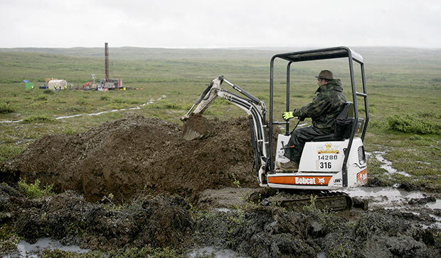 A worker with the Pebble Mine project test drills in the Bristol Bay region of Alaska near the village of Iliamma, Alaska.