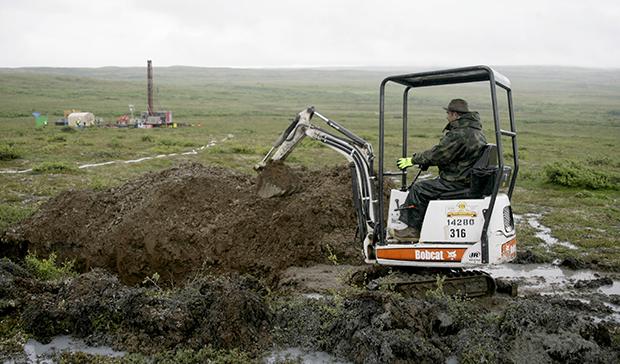A worker with the Pebble Mine project test drills in the Bristol Bay region of Alaska near the village of Iliamma, Alaska.
