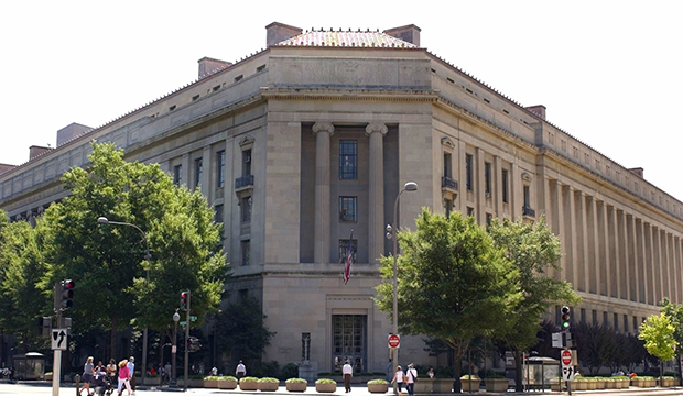 The Robert F. Kennedy Department of Justice Building is seen in Washington.