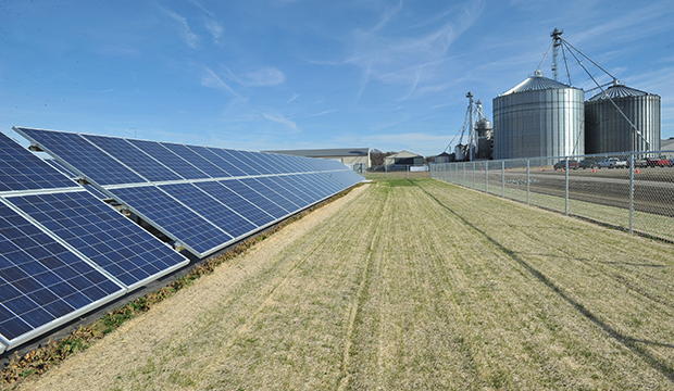 The 200 kW solar array, which will power farm operations, is seen next to the grain-handling facilities that include drying and storage at the Sustainable Agriculture Celebration at Harborview Farms on Thursday, December 6, 2012, in Rock Hall, Maryland.