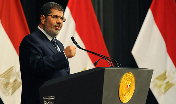 Egyptian President Mohamed Morsi delivers a speech in Cairo, Egypt, Wednesday, June 26, 2013.