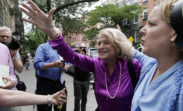 Edith Windsor, left, the plaintiff in the historic <em>United States v. Windsor</em> case before the U.S. Supreme Court, accompanied by her attorney Roberta Kaplan, arrives at the LGBT Center for a news conference, in New York, Wednesday, June 26, 2013.
