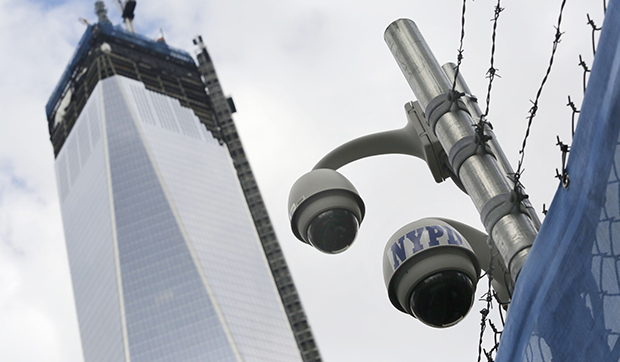 New York Police Department security cameras are in place at the National September 11 Memorial and Museum in New York.