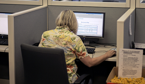 An applicant files for unemployment at a Georgia Department of Labor career center, Thursday, July 18, 2013, in Atlanta.