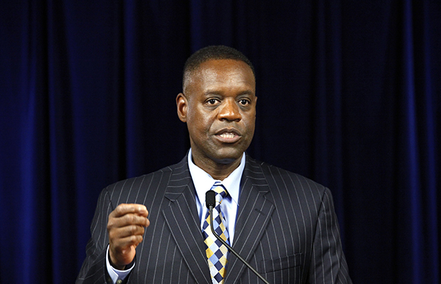 State-appointed Emergency Manager Kevyn Orr speaks during a news conference in Detroit, Michigan, Thursday, July 18, 2013.
