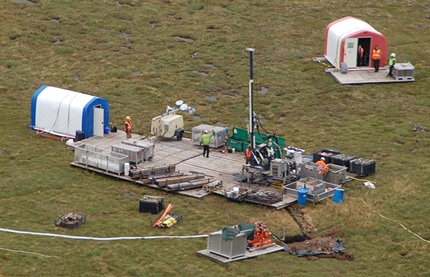 A drilling rig is shown at the site of the Pebble Mine Project in Alaska's Bristol Bay region.