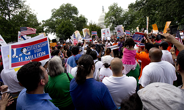 Immigration supporters gather during a rally for citizenship on Capitol Hill in Washington, Wednesday, July 10, 2013.