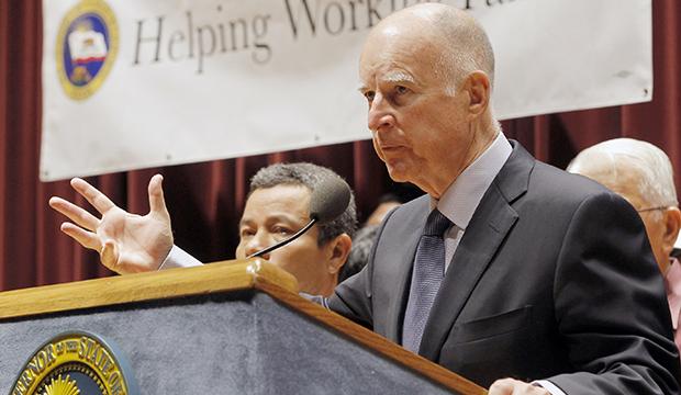 California Gov. Jerry Brown (D) speaks in Los Angeles, Wednesday, September 25, 2013.