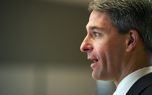 Virginia Republican gubernatorial candidate Ken Cuccinelli addresses the Virginia Energy & Opportunity Forum in Arlington, Virginia, Thursday, August 29, 2013.