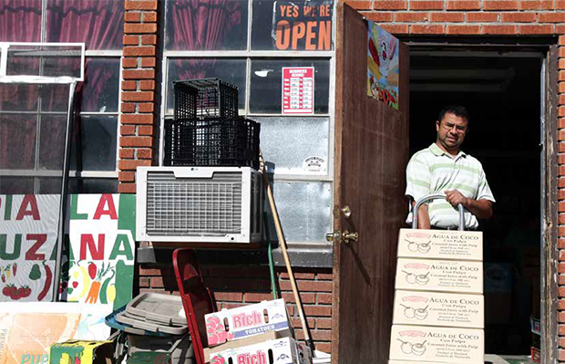 Nestor Carrillo of Caldwell, Idaho, delivers groceries to Veracruzana, a Hispanic grocery store in Nampa, Idaho, on Friday, May 8, 2009.