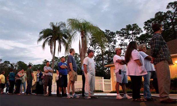 Voters stand in line at a Fort Myers, Florida, church late Tuesday, November 6, 2012.