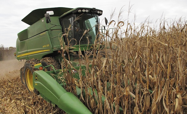 Bill Bass, 63, harvests corn on acreage near the southern Illinois town of Cobden, Tuesday, November 5, 2013.