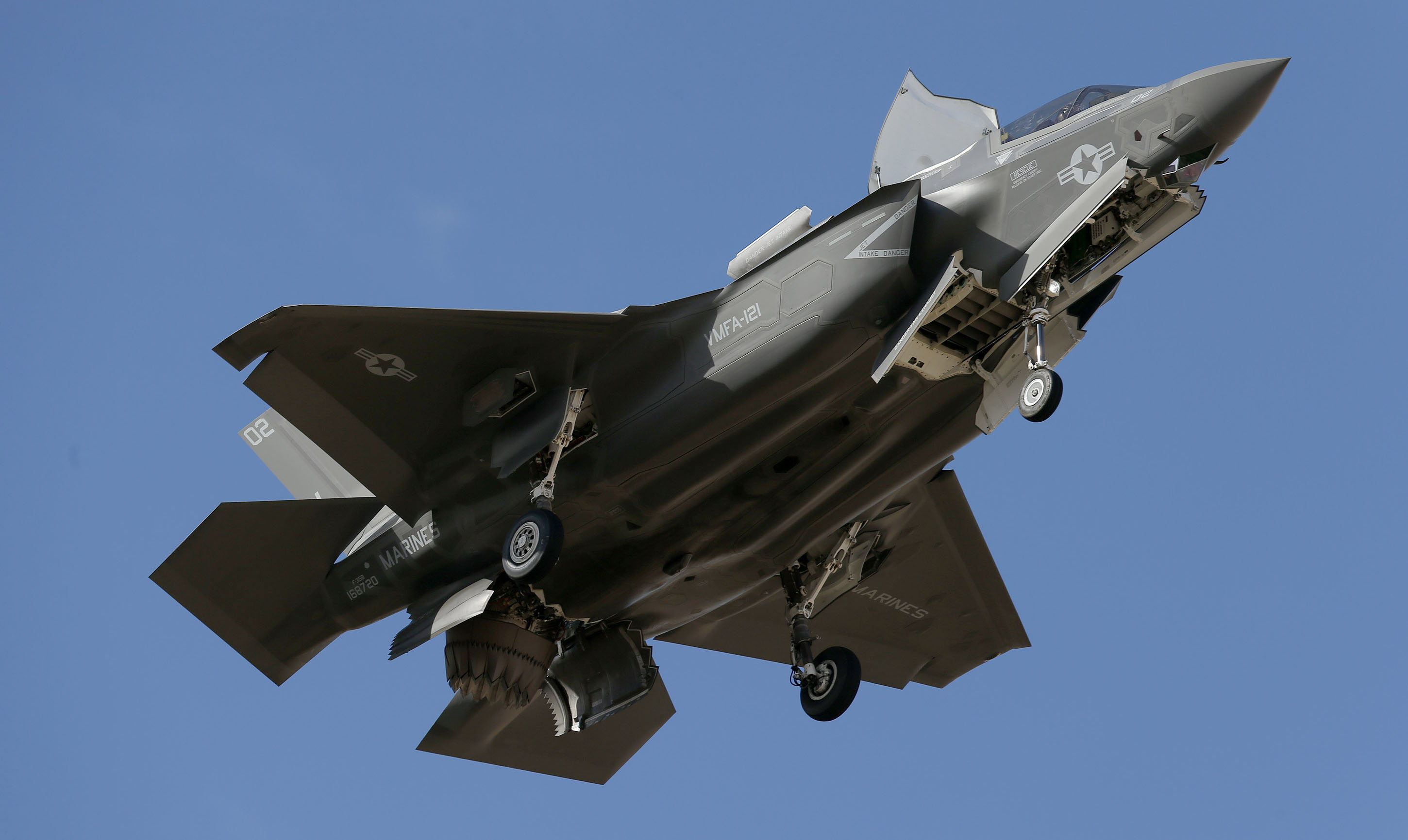 An F-35B fighter jet flies into Luke Air Force Base in Goodyear, Arizona.