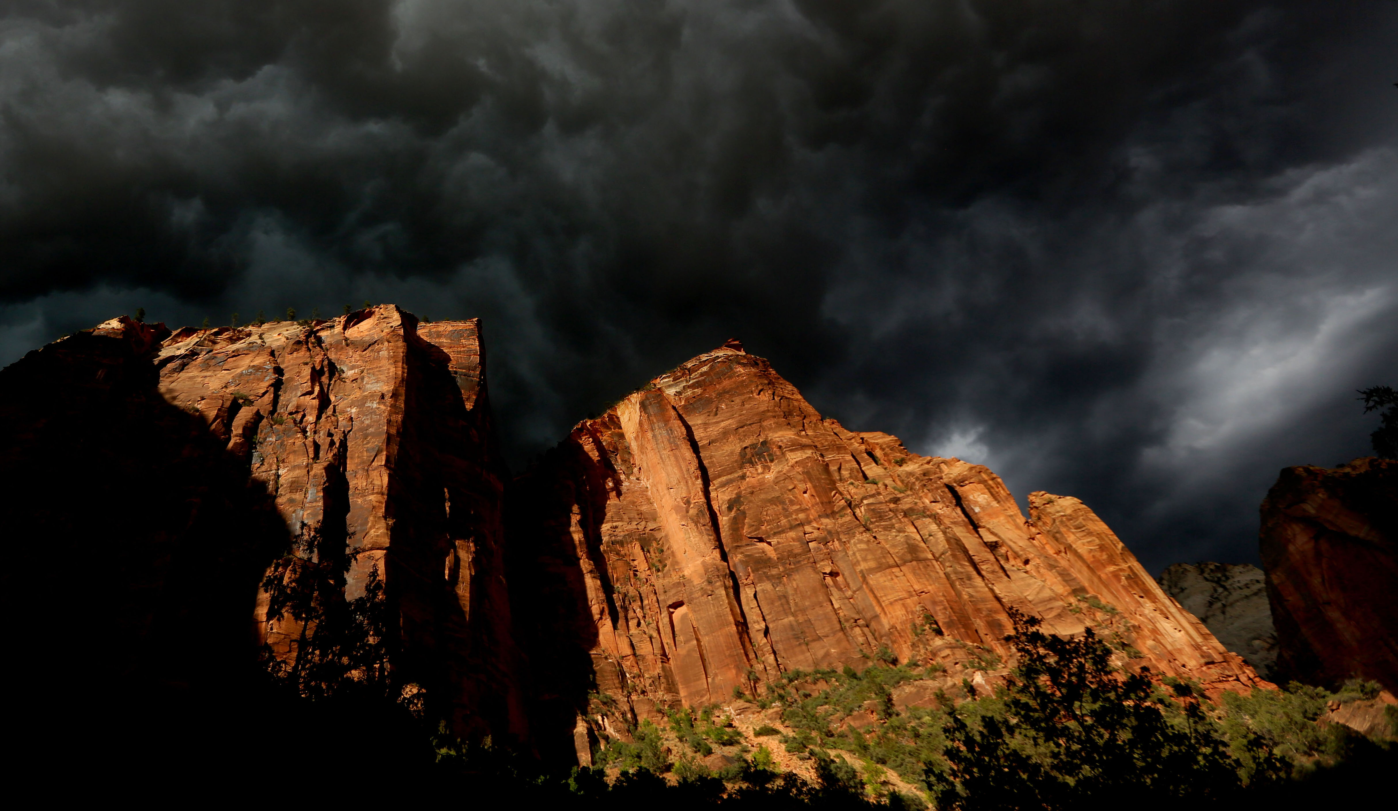 A storm makes its way through Zion National Park outside of Springdale, Utah.