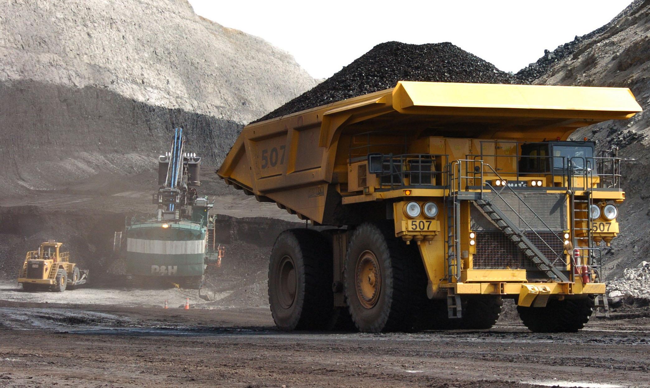 Truck hauls coal