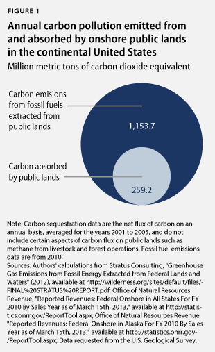 Annual carbon pollution emitted from and absorbed by onshore public lands in the continental United States