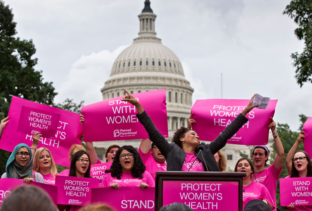 Women rally on Capitol Hill in Washington to support women's health rights.