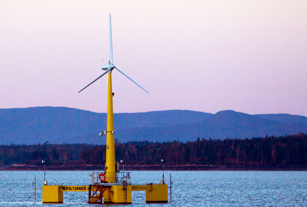 A floating wind turbine is seen off the coast of Castine, Maine.