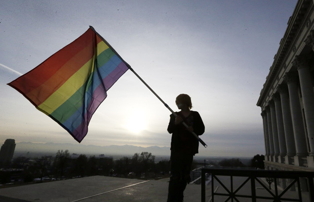 A supporter of gay marriage waves a flag during a rally at the Utah State Capitol, Tuesday, January 28, 2014, in Salt Lake City.