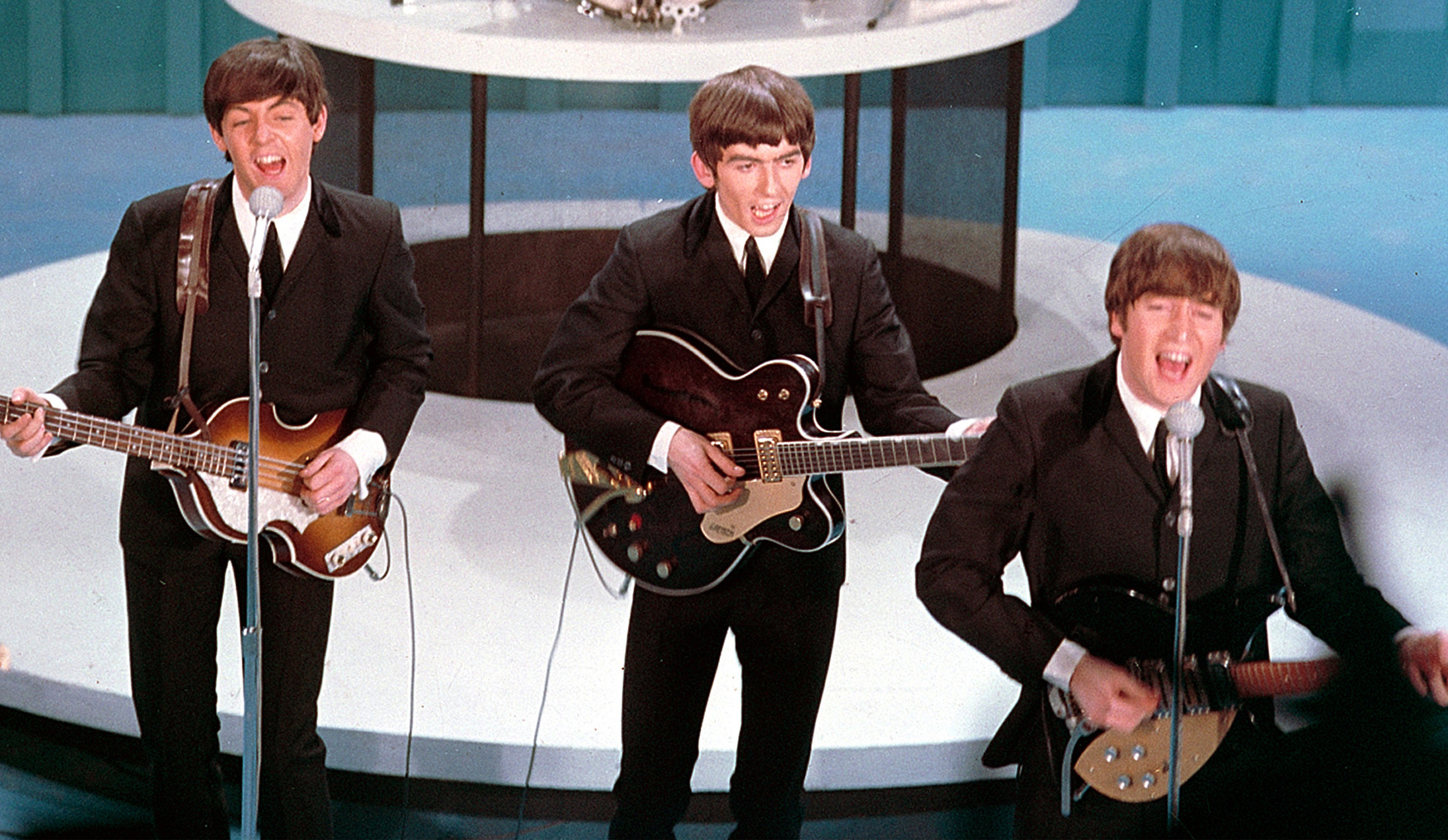 "The Beatles perform on ""The Ed Sullivan Show"" in New York on February 9, 1964."