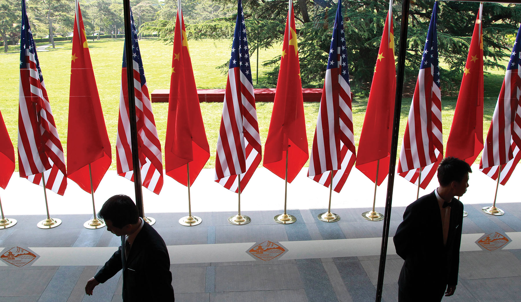 Chinese and U.S. national flags are posted for the opening ceremony of the U.S.-China Strategic and Economic Dialogue in Beijing in May 2012.
