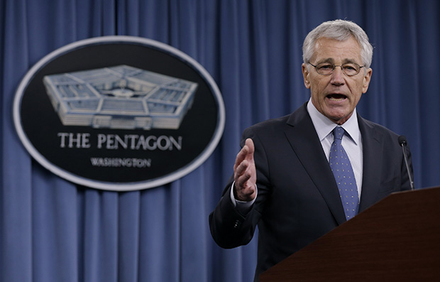 Secretary of Defense Chuck Hagel briefs reporters at the Pentagon, Monday, February 24, 2014.