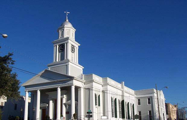 Shown is the First Presbyterian Church in Natchez, Mississippi.