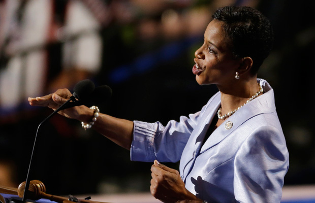 Rep. Donna Edwards (D-MD) speaks to delegates at the Democratic National Convention in Charlotte, North Carolina, in 2012.