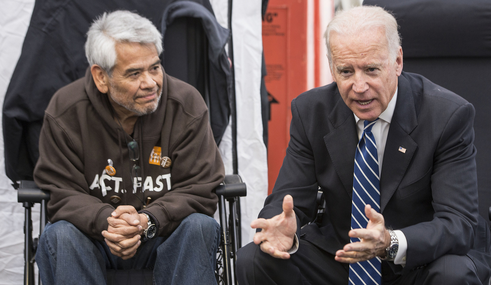 Vice President Joe Biden chats with Eliseo Medina, Secretary-Treasurer of the Service Employees International Union, at the Fast for Families protest of immigration reform.