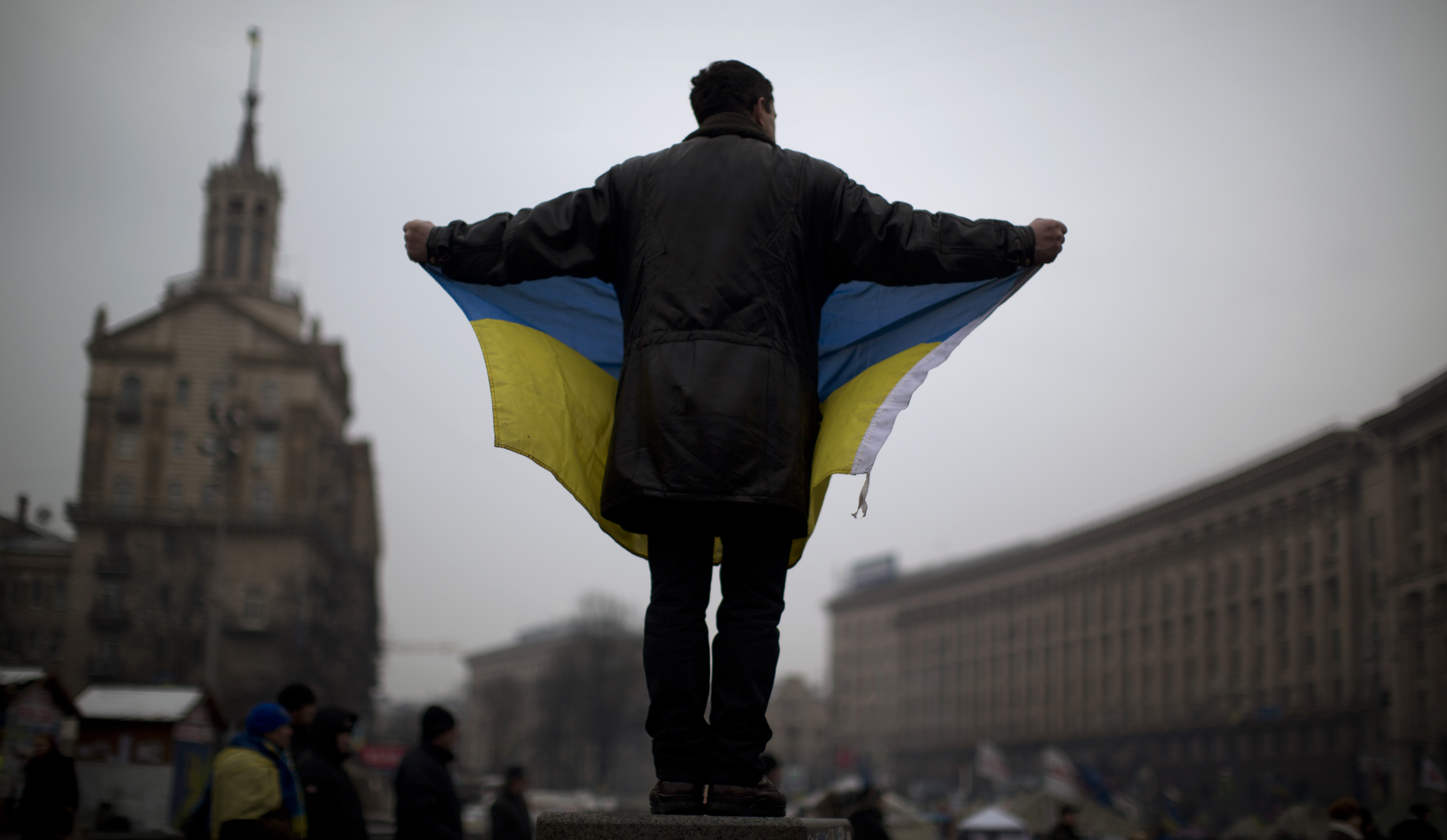 Ukrainian flag protestor