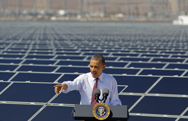 President Barack Obama speaks after touring Sempra's Copper Mountain Solar 1 facility in Boulder City, Nevada, in 2012.