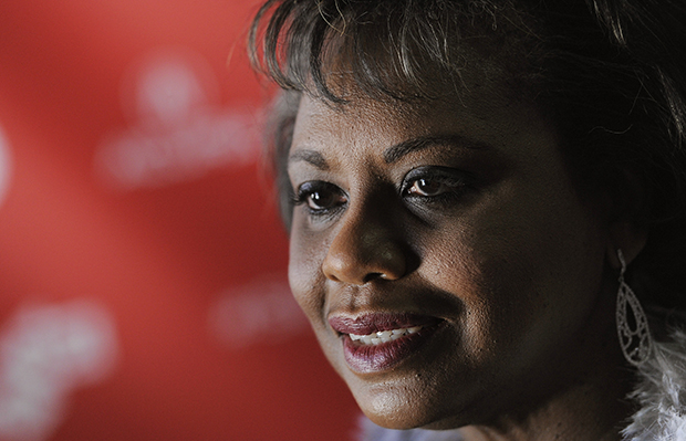 "Anita Hill, subject of the documentary film ""Anita,"" poses at the film's premiere at the 2013 Sundance Film Festival, Saturday, January 19, 2013, in Park City, Utah."