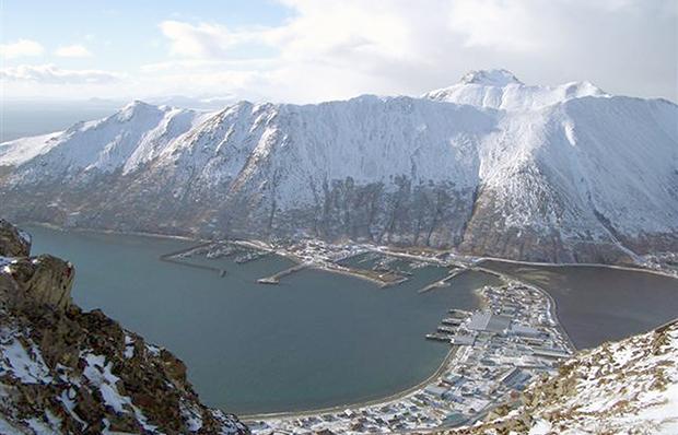 A photo released by the Aleutians East Borough shows the village of King Cove, Alaska.