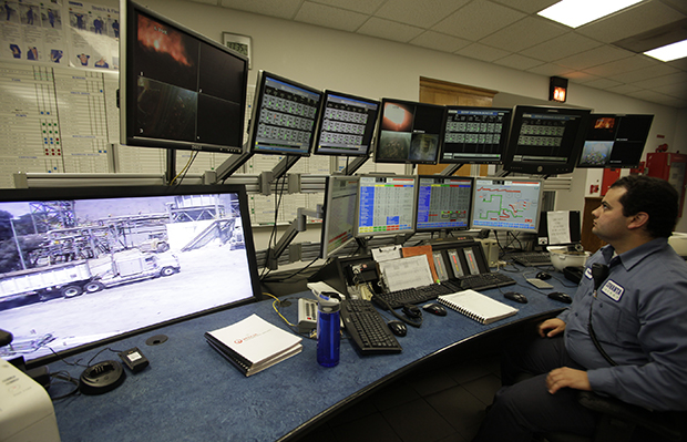 Shown is a control room of a moving grate incinerator overseeing boiler lines at the Southeast Resource Recovery Facility in Long Beach, California, August 24, 2010.