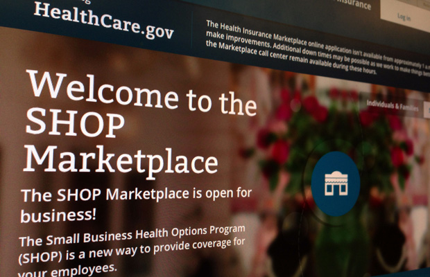 Part of the HealthCare.gov website page featuring information about the SHOP Marketplace is photographed in Wednesday, November 27, 2013.