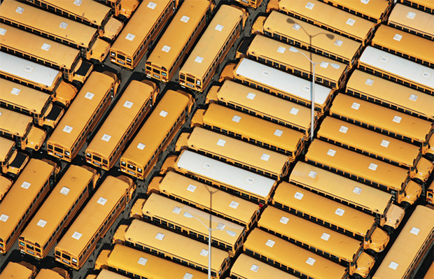 An aerial photo shows parked school buses in New York, August 29, 2007.
