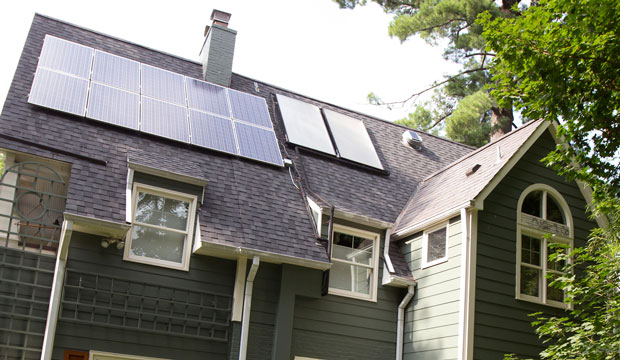 This house owned by Ketch Ryan of Chevy Chase, Maryland, has solar panels installed on the roof.