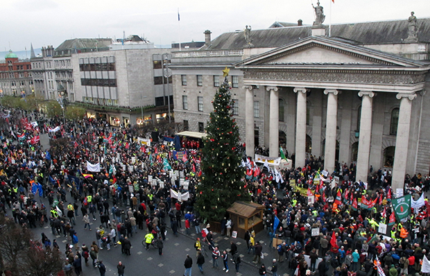 Thousands of anti-austerity protesters rally outside Dublin's General Post Office to hear speeches opposing government plans for more spending cuts and tax increases, Saturday, November 24, 2012.
