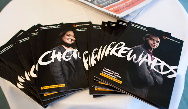 "Marketing materials for Britain's ""New Era for Apprenticeship"" campaign are displayed in London."