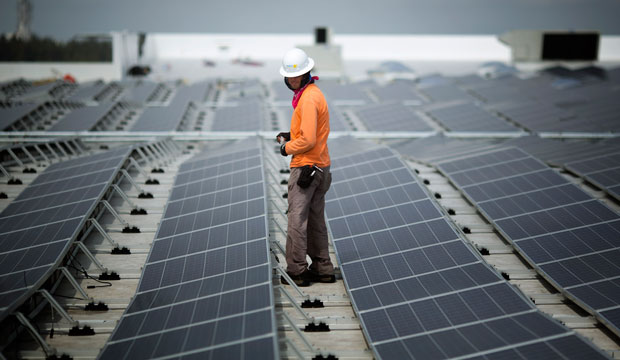 South Florida's largest solar panel is shown atop a future IKEA store in Miami.