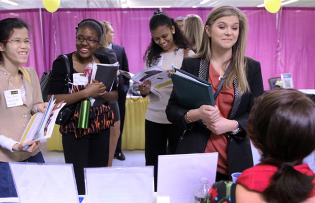 Students attend a job fair at Plymouth State University in Manchester, New Hampshire.