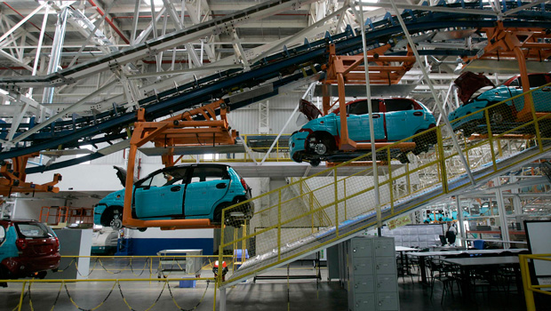 A view of the newly inaugurated plant of General Motors in Talegaon, about 100 miles northeast of Mumbai, India, Tuesday, September 2, 2008.